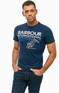 Хлопковая футболка с принтом Barbour
