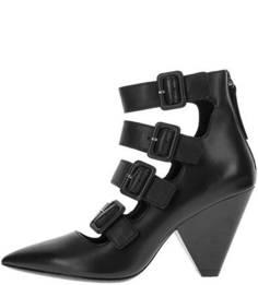 Черные кожаные ботильоны на каблуке Ash