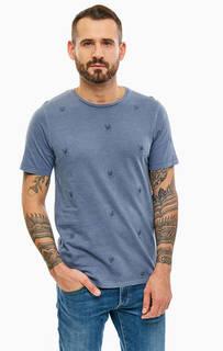 Синяя хлопковая футболка с вышивкой Jack & Jones