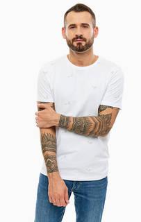 Белая хлопковая футболка с вышивкой Jack & Jones