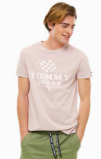 Сиреневая хлопковая футболка Tommy Jeans