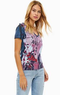 Хлопковая футболка с цветочным принтом Desigual