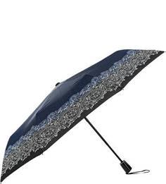 Синий складной зонт с цветочным принтом Doppler