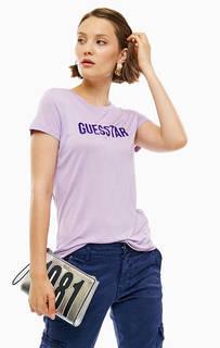 Сиреневая футболка из вискозы с нашивками Guess