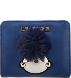 Синее портмоне с нашивками Love Moschino