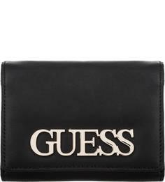 Черный кошелек с металлическим элементом Guess