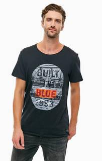 Черная хлопковая футболка с принтом Blend