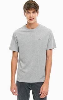 Серая хлопковая футболка Tommy Jeans
