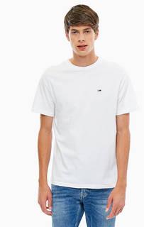 Белая хлопковая футболка Tommy Jeans