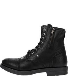 Кожаные ботинки на молнии и шнуровке S.Oliver