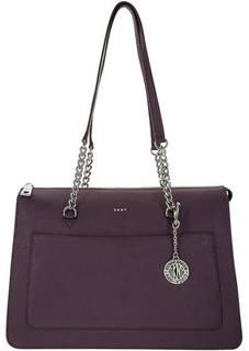 Фиолетовая кожаная сумка с длинными ручками Dkny