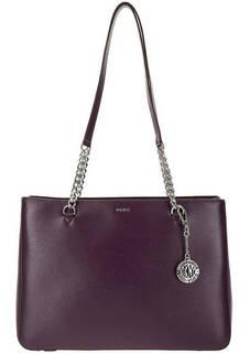 Кожаная сумка фиолетового цвета с длинными ручками Dkny