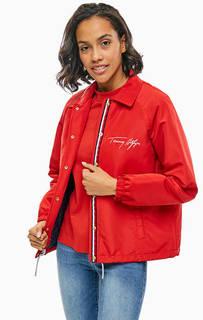 Красная куртка оверсайз с вышивкой Tommy Hilfiger