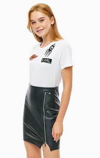 Хлопковая футболка с нашивками Karl Lagerfeld