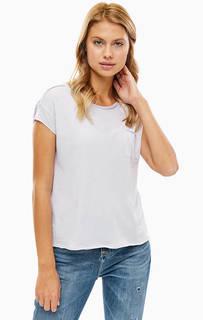 Сиреневая хлопковая футболка с карманом Marc O'Polo Denim
