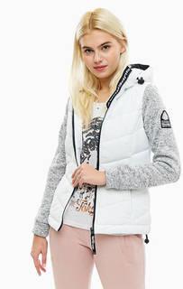 Белая куртка с трикотажными рукавами Superdry