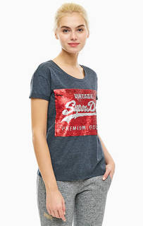 Хлопковая футболка с отделкой пайетками Superdry
