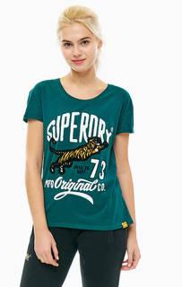 Зеленая хлопковая футболка с принтом Superdry