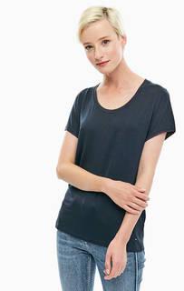 Синяя футболка с декоративной вышивкой Tommy Hilfiger