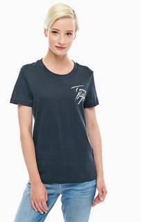 Синяя хлопковая футболка с короткими рукавами Tommy Hilfiger