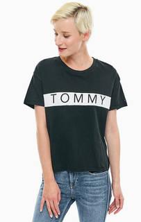 Белая хлопковая футболка оверсайз Tommy Jeans