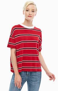 Футболка красного цвета в полоску Tommy Jeans