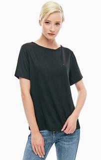 Однотонная черная футболка с короткими рукавами Tommy Jeans