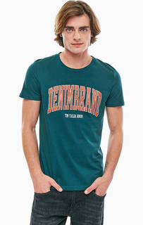 Бирюзовая футболка с принтом Tom Tailor Denim