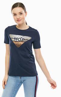 Хлопковая футболка с блестящим принтом Marc Opolo