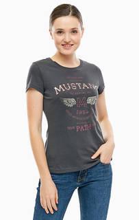 Серая хлопковая футболка с принтом Mustang