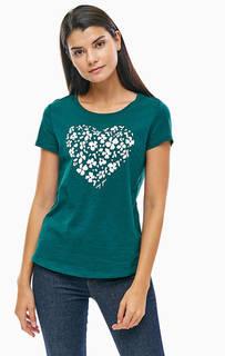 Хлопковая футболка с цветочным принтом Tom Tailor Denim