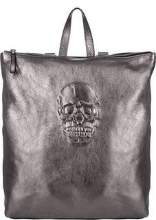 Сумка-рюкзак из натуральной кожи серебристого цвета Io Pelle