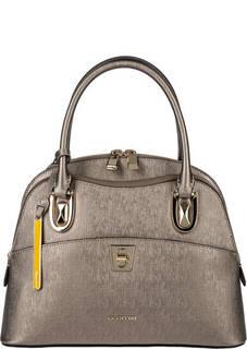 Серебристая кожаная сумка с двумя отделами Cromia