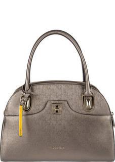 Серебристая кожаная сумка с длинными ручками Cromia