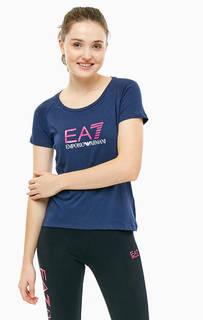 Синяя хлопковая футболка с принтом EA7