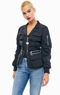 Легкая черная куртка с четырнадцатью карманами Diesel