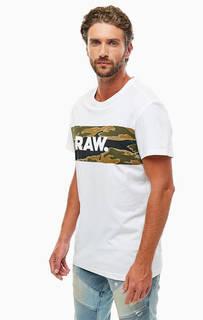 Белая хлопковая футболка с принтом G Star RAW