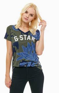 Хлопковая футболка с цветочным принтом G Star RAW