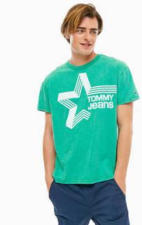 Зеленая хлопковая футболка с принтом Tommy Jeans