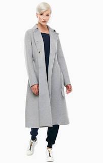 Серое двубортное пальто Stefanel