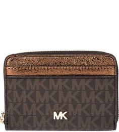 Маленький коричневый кошелек с монограммой бренда Money Pieces Michael Michael Kors