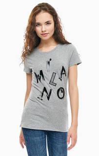 Серая хлопковая футболка с короткими рукавами Liu Jo