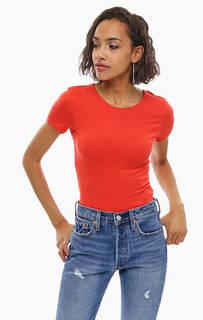 Красная хлопковая футболка Cheap Monday
