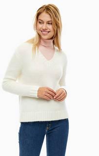 Свитер молочного цвета с треугольным вырезом Calvin Klein Jeans