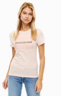Футболка кораллового цвета из хлопка Calvin Klein Jeans