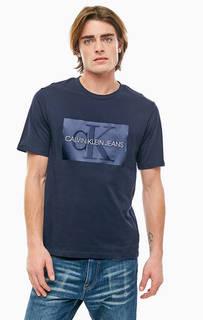Синяя хлопковая футболка с короткими рукавами Calvin Klein Jeans