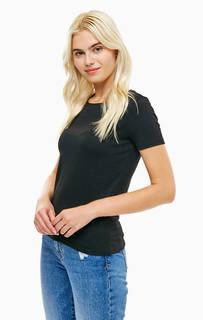 Однотонная черная футболка с короткими рукавами Mavi