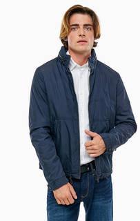 Синяя хлопковая куртка со скрытым капюшоном Tommy Hilfiger