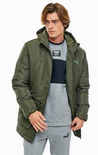 Куртка цвета хаки с карманами и капюшоном Puma