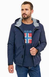 Синяя куртка на молнии и липучках с капюшоном Napapijri